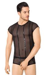 Костюм-сетка с полосками мужской SoftLine Collection (майка, шорты), чёрный, M/L