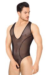 Боди из сетки мужское SoftLine Collection, чёрное, XL