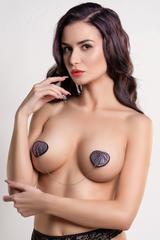 Пэстис Erolanta Lingerie Collection в форме сердец со стразами и цепочкой черно-розовые