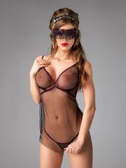 Комплект Me Seduce Diva (комбинация, повязка на глаза и стринги), черный, S/M