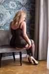 Корсет с пажами и стринги SoftLine Collection Christina, чёрные-XL
