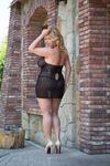 Ночная сорочка и стринги SoftLine Collection Lucy, черные-XXL