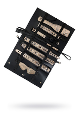 БДСМ набор Goddess (кляп, ошейник, поводок, пэдл, флоггер, наручники, оковы на ноги), золотисто-черный
