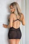 Ночная сорочка и стринги SoftLine Collection Bridget, черная-S/M
