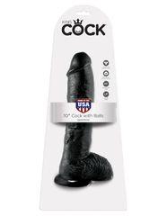 Фаллоимитатор-гигант на присоске с мошонкой черный King Cock 10 Cock