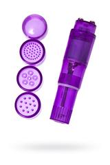 Мини вибратор Erotist Adult Toys с насадками, ABS пластик, фиолетовый, 11 см