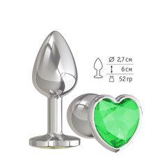 Анальная втулка Silver с зеленым кристаллом сердце маленькая