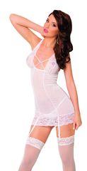 Ночная сорочка с пажами для чулок и стринги SoftLine Collection Kate, белый, M/L