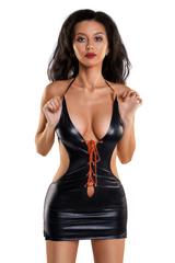 Платье Glossy из материала Wetlook с красной шнуровкой, черный, L