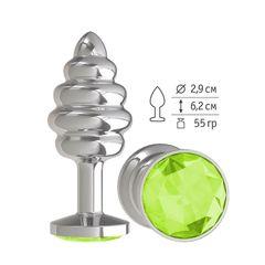 Анальная втулка Silver Spiral малая с салатовым кристаллом