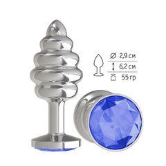 Анальная втулка Silver Spiral малая с синим кристаллом
