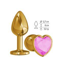 Анальная втулка Gold малая с розовым кристаллом сердце