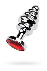Анальный страз Metal by TOYFA, металл, серебристый, с кристаллом цвета рубин, 7 см, Ø 3 см, 55 г