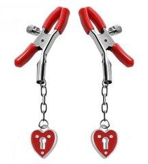 Зажимы на соски с подвесками-замок сердечко Master Series Captive Heart Padlock Nipple Clamp