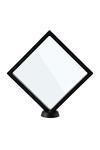 Рамка-ромб для выкладки прозрачная с черным кантом под подставку 18*18