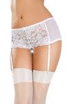 Эротические трусики-пояс Erolanta Lingerie Collection с кружевными вставками, белые (46-48)