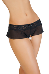 Эротические трусики-юбочка Erolanta Lingerie Collection из стрейч-сетки, черные (46-48)