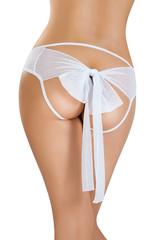 Эротические трусики Erolanta Lingerie Collection из стрейч-сетки с бантом, белые (42-44)