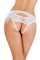 Эротические трусики Erolanta Lingerie Collection со вставкой стрейч-сетки, белые (42-44)