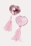 Пэстис Erolanta Lingerie Collection в форме сердец с кисточками однотонные розовые