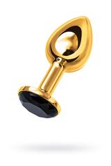 Анальная втулка TOYFA Metal маленькая, золотая, с черным кристаллом