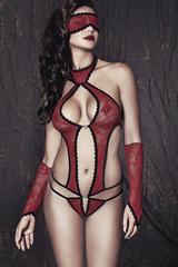 Боди, маска и перчатки Anais Ashley, красно-черные, S