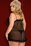 Ночная сорочка и стринги SoftLine Collection Kaya, черные, XXXL