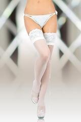 Чулки SoftLine Collection с широкой кружевной резинкой (с силик. полосками) белые-M