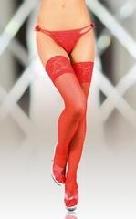 Чулки с широкой кружевной резинкой (с силик. полосками) красные-XL