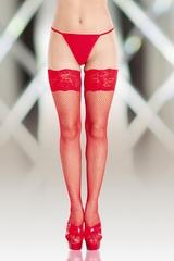 Чулки в сетку SoftLine Collection (c силик. полосками) красные-M