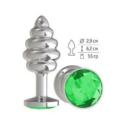 Анальная втулка Silver Spiral с зелёным кристаллом маленькая