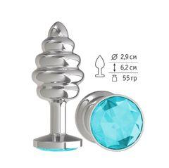 Анальная втулка Silver Spiral с голубым кристаллом маленькая