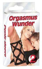 Эластичная открытая насадка на пенис черная Orgasmus Wunder