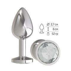Анальная втулка Silver с прозрачным кристаллом маленькая