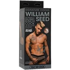 Фаллоимитатор с мошонкой на присоске необрезанный Signature Cocks - William Seed