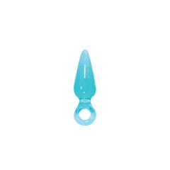 Анальная пробка с ограничителем кольцом Jolie - Pleasures Plug - Mini - Aqua
