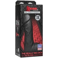 Фаллоимитатор-гигант с присоской-плагом черный KINK - The Really Big Dick