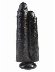 Сдвоенный фаллоимитатор на присоске черный King Cock 9 Two Cocks One Hole