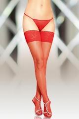 Чулки-сетка со шовом SoftLine Collection, красный, M