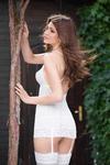 Ночная сорочка с пажами для чулок и стринги SoftLine Collection Kate, белый, S/M